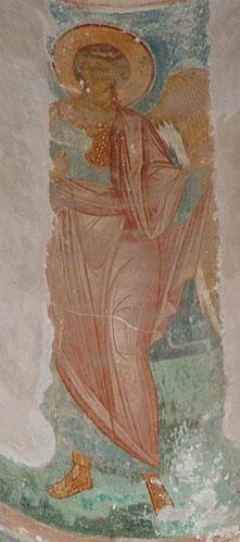 Arcángel Uriel, fresco de Dyonisius en la Iglesia de la Natividad de la Virgen María, Rusia