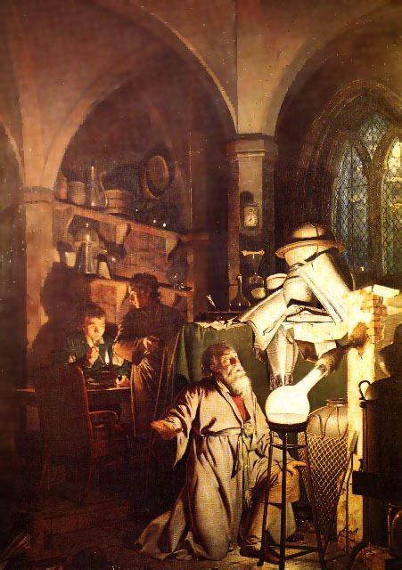 El alquimista en busca de la piedra filosofal. Joseph Wright, 1771 (Museo de Derby)
