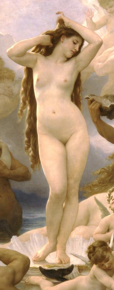 Afrodita surge de la espuma del mar, coronada con exuberantes trenzas (El nacimiento de Venus, William-Adolphe Bouguereau, 1879)