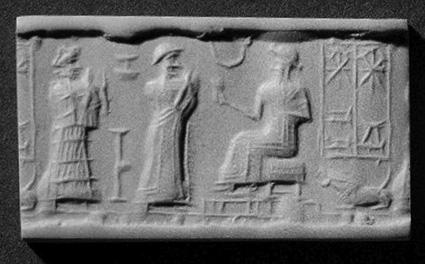 Impresión tomada de un antiguo sello cilíndrico goetita del periodo babilónico, con Aya y Šamaš. Las dos deidades son identificables por una inscripción adjunta