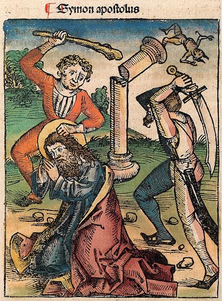 San Judas Tadeo, martirizado con maza y decapitado con shamsir. Hartmann Schedel, Crónicas de Núremberg