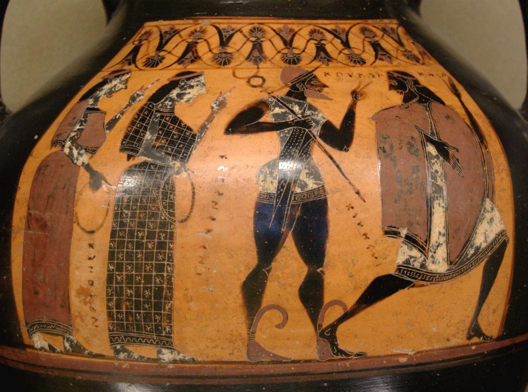 El Juicio de Paris en una cerámica del siglo VI a. C.